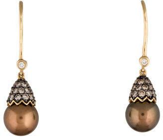 Le Vian 14K Diamond & Pearl Drop Earrings $975 thestylecure.com