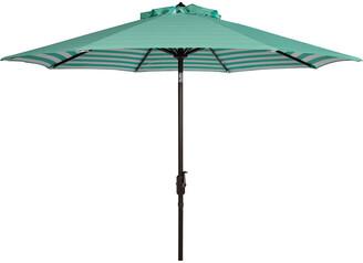 Safavieh Athens Inside Out Striped 9Ft Crank Outdoor Auto Tilt Umbrella