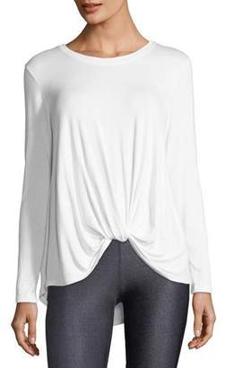 Terez Crewneck Twist-Front Long-Sleeve Tee
