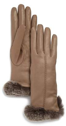 Bloomingdale's Rex Rabbit Fur-Trim Leather Gloves - 100% Exclusive