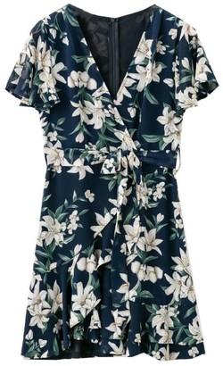 Goodnight Macaroon 'Ronda' Floral Print Wrap Mini Dress (3 Colors)