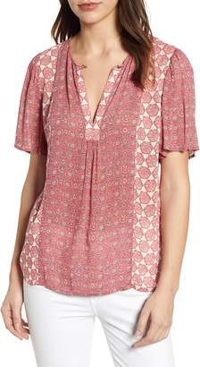 Lucky Brand Tile Flutter Sleeve Top