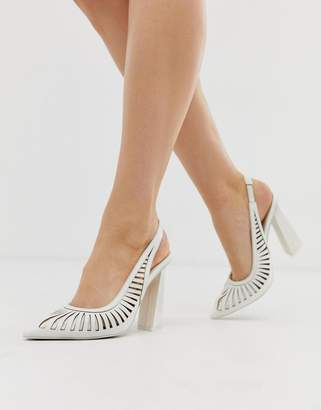 Asos Design DESIGN Pascha cut out sling back high heels in white