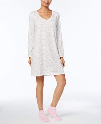 Charter Club Graphic-Print Cotton Sleepshirt with Matching Socks