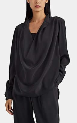 Co Women's Drape-Front Crepe Blouse - Gray