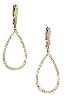 Ef Collection Women's Small Diamond & 14K Yellow Gold Teardrop Earrings