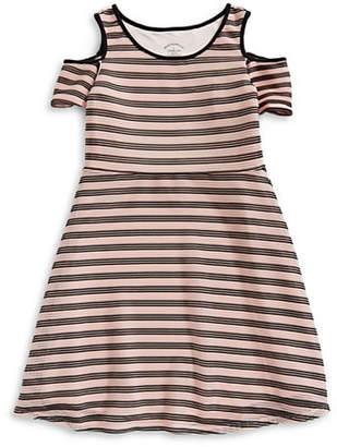 PASTOURELLE Striped Cold-Shoulder Dress