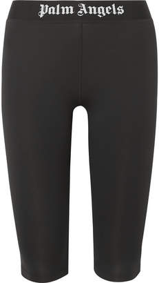 Palm Angels Cropped Intarsia-trimmed Stretch Leggings - Black