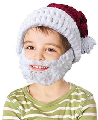 BIBITIME Christmas Gift Knitted Crochet Santa Beanie Hat with Retractable Beard Mask Hanging Pompom Cap for Winter Ski Outdoor Sports(, Father Mother)
