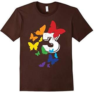 Number 3 Spectrum Color Butterflies Flying T-Shirt