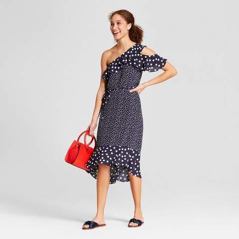 A New Day Women's Polka Dot One Shoulder Midi Dress - A New Day Navy