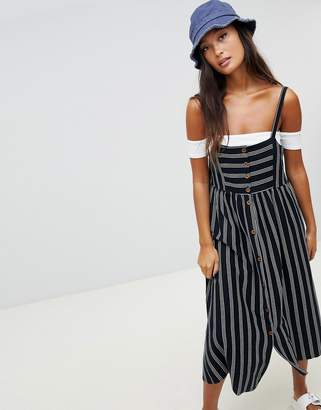 Pull&Bear button front stripe dress in black