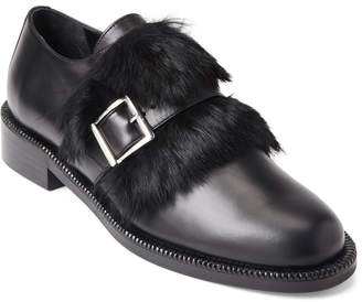 Paloma Barceló Black Real Fur Leather Loafers