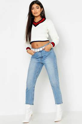 boohoo Cropped Contrast Trim Cricket Sweater