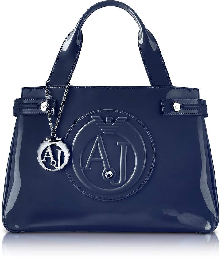 Armani Jeans Medium Blue Faux Patent Leather Tote
