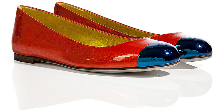 Sergio Rossi Lipstick Red/Royal Blue Patent Leather Ballerinas