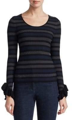 Stripe Ruffle Cuff Sweater