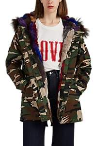 WOMEN'S FUR-TRIMMED & FUR-LINED CAMOUFLAGE CANVAS PARKA - GREEN SIZE XS