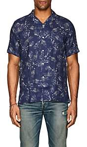 Hartford Men's Palm-Tree-Print Linen Gauze Sport Shirt - Navy