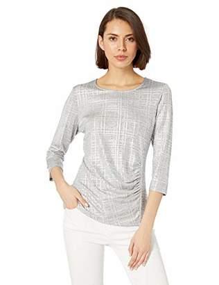 Calvin Klein Women's 3/4 Sleeve Metallic Top with Ruching