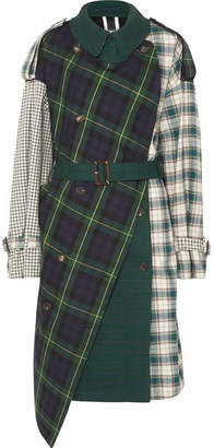 Pushbutton Asymmetric Paneled Checked Cotton-twill Trench Coat