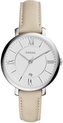 Fossil Women Jacqueline White Leather Strap Watch 36mm ES3793