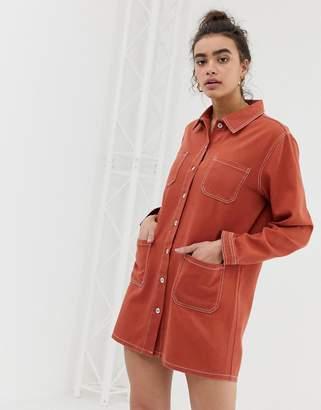 Emory Park denim shirt dress with contrast stitching