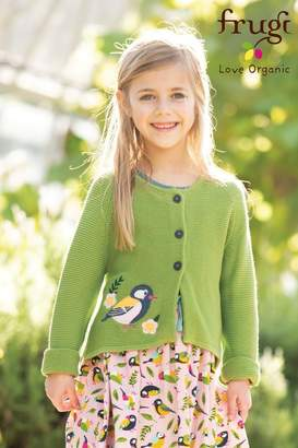 Frugi Girls Organic Knitted Cardigan With Bird Embroidery - Green
