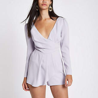 River Island Womens Light purple wrap front tie back playsuit