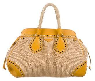 Prada Leather-Trimmed Straw Tote