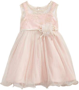 Bonnie Baby Baby Girls Rose Champagne Illusion Dress