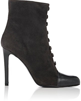 Barneys New York Women's Cap-Toe Suede Ankle Boots $425 thestylecure.com