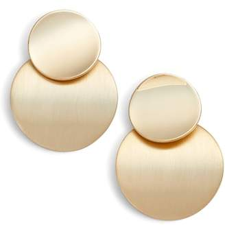 Halogen R Curved Disc Statement Drop Earrings