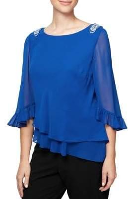 Alex Evenings Plus Embellished Quarter-Sleeve Chiffon Blouse