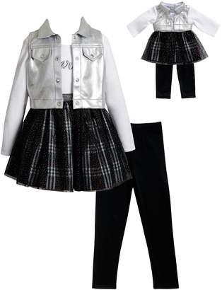 Dollie & Me Girls 4-14 Dress, Vest, Leggings & Matching Doll Outfit Set