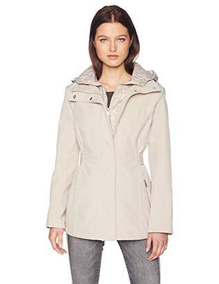 Kenneth Cole New York Women's Mid Length Zip Trench Jacket Hood Mixed Quilting