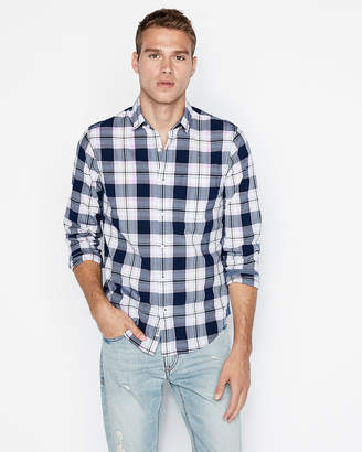 Express Slim Soft Wash Plaid Button-Down Shirt