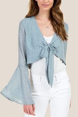 francesca's Farrah Bell Sleeve Tie Front Top - Blue