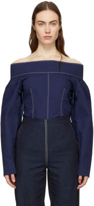 Cédric Charlier Navy Off-the-Shoulder Blouse