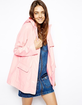 Asos High Shine Rain Trench - Pink