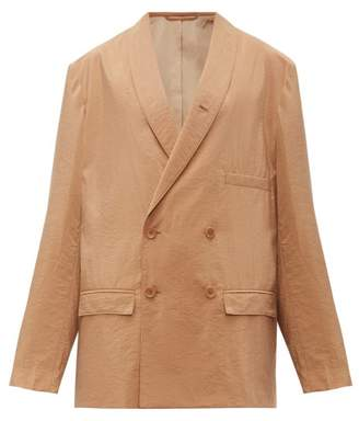 Lemaire Oversized Double Breasted Silk Blend Blazer - Womens - Tan