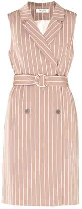 Paisie Sleeveless Striped Jacket Dress (With Self Belt) In Dusty Pink & White