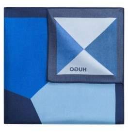 HUGO Boss Colorblocked Italian Silk Pocket Square One Size Dark Blue