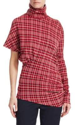 Calvin Klein Plaid One-Sleeve Top