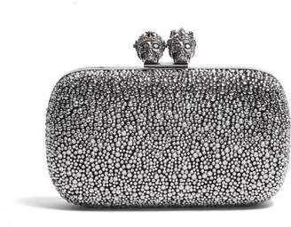 Alexander McQueen Queen And King Crystal Embellished Clutch - Womens - Black Silver
