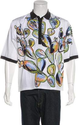Dolce & Gabbana Rib Knit-Trimmed Graphic Polo Shirt w/ Tags