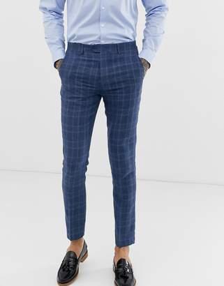 Gianni Feraud slim fit linen blend check suit pants