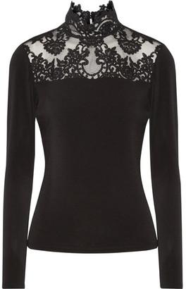 Alice + Olivia - Jennine Corded Lace-trimmed Stretch-crepe Top - Black $315 thestylecure.com