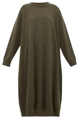 eskandar A Line Cashmere Midi Dress - Womens - Khaki
