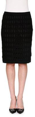 Moschino Fence-Mesh Overlay Pencil Skirt, Black $1,025 thestylecure.com